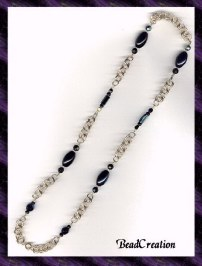Beaded Gold Chain Necklace in Black Iridescent Beads