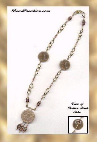 button necklace golden chain copper glaze glass