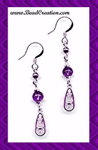 purple and gold dangle earrings