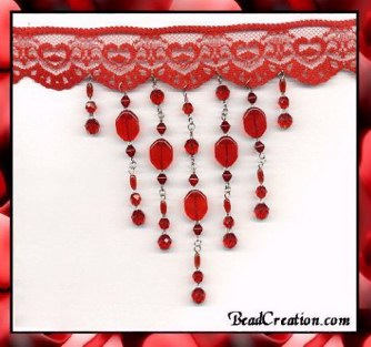Red Beaded Lace Choker Sexy