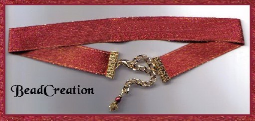 red sparkle ribbon choker, adjustable