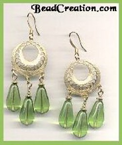 Earrings, Chandelier Earrings, green