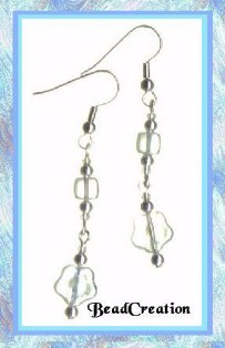clear iridescent dangle earrings
