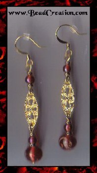 red dangle earrings gold filigree dangle earrings