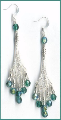 chandeleir earrings long beaded earrings green glass chandelier earrings