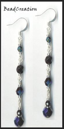 dangle earrings long beaded earrings black iridescent long dangle earrings handcrafted