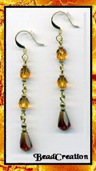 autumn colored earrings, long dangle earrings beaded earring