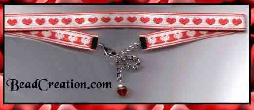 red heart choker necklace adjustable