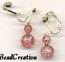 Pink Crackle Glass Clip Earrings