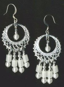 White glow in the dark chandelier earrings,silver hoop,glow in the dark,earrings,glow jewelry