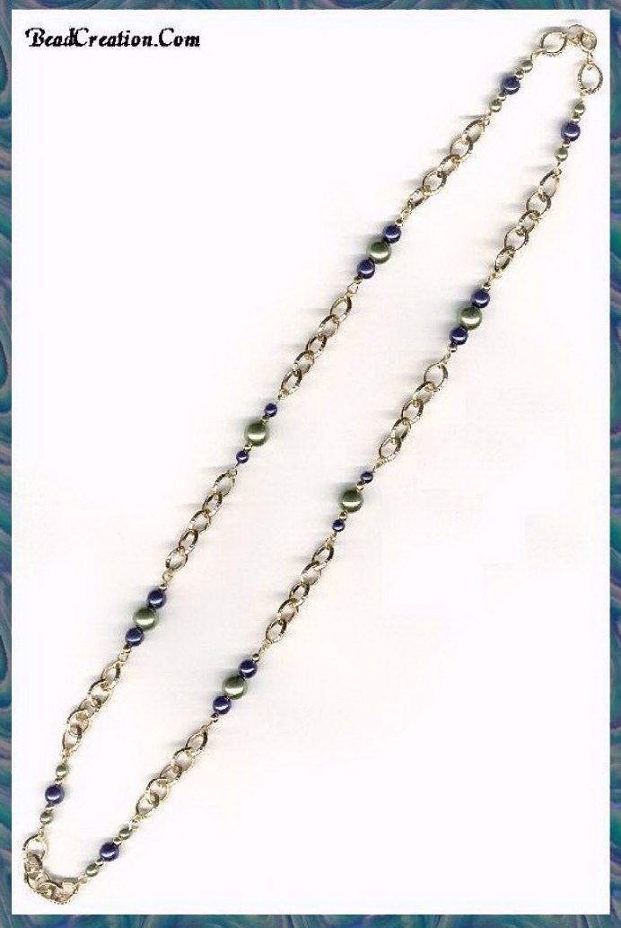 Handmade Glass Beaded Chain Necklace