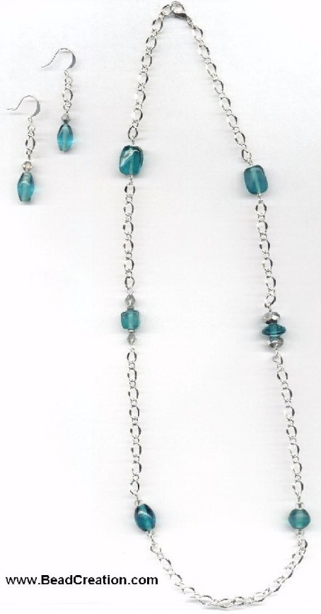 beaded chain necklace,teal indian glass