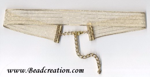 golg ribbon choker necklace
