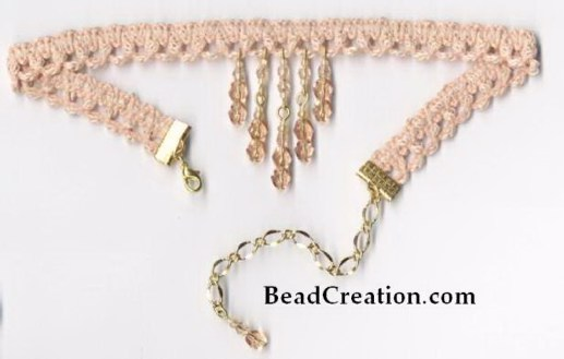 beaded trim necklace, peach choker