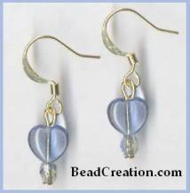 short blue earrings, heart earrings