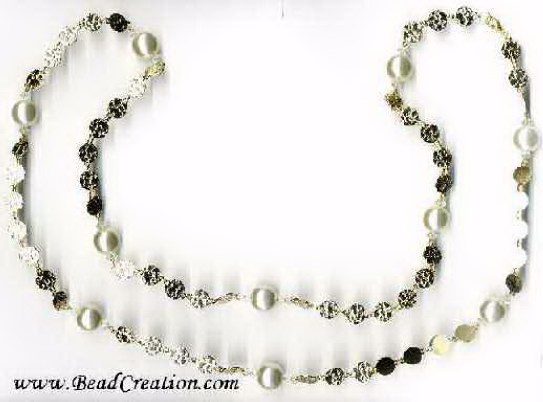 long pearl necklace,beaded chain