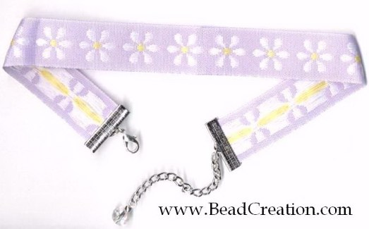lavender ribbon choker necklace,daisy