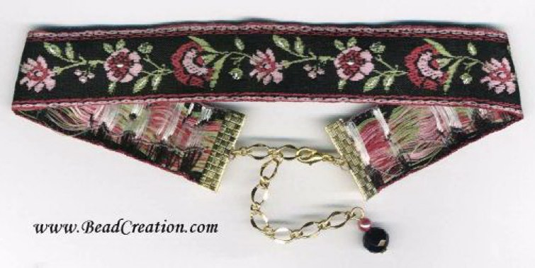 black ribbon choker, floral pink and black