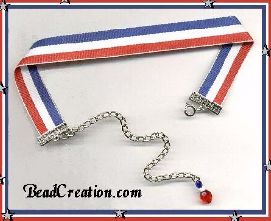 honor ribbon choker red white blue