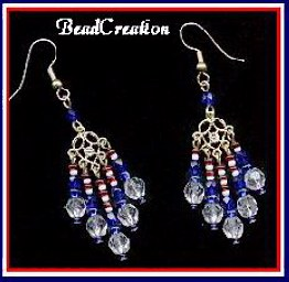 Glass Chandelier Earrings - American Spirit red, white, and blue