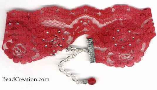 Red Lace Choker Rhinestone