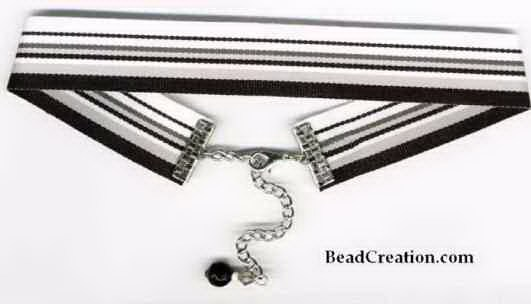 black and white ribbon choker