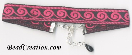 pink and black choker necklace