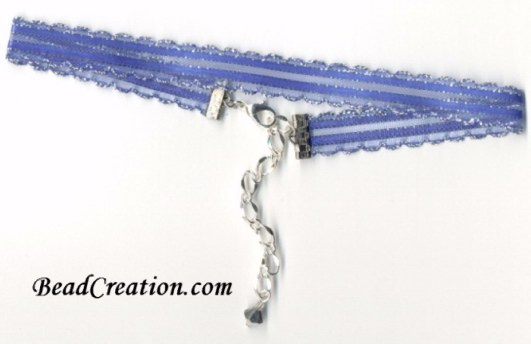 blue purple choker necklace ribbon