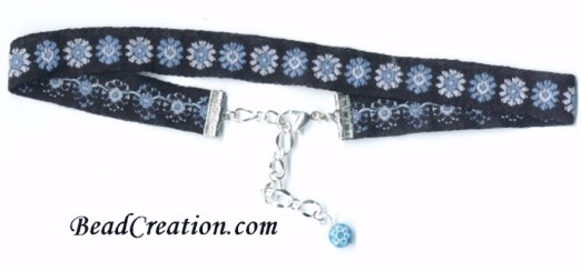 teal and black ribbon choker