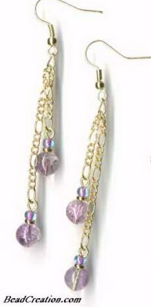 long earrings purple chain earrings