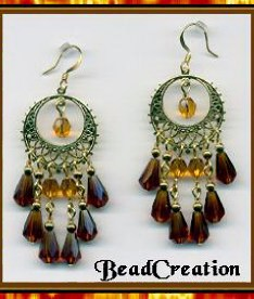 chandelier earrings, glass earrings brown