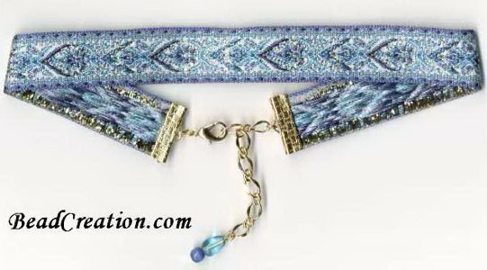 blue embroidered choker necklace