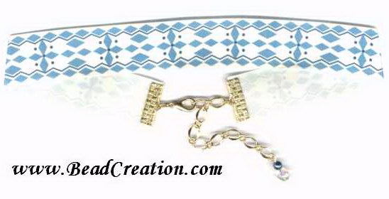 blue and white ribbon choker necklace