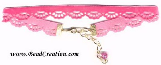 pink velvet choker with scallops