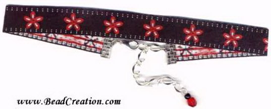 red and black necklace,ribbon choker