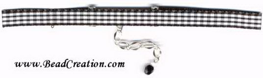 black and white plaid choker necklace