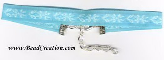 Teal ribbon choker necklace