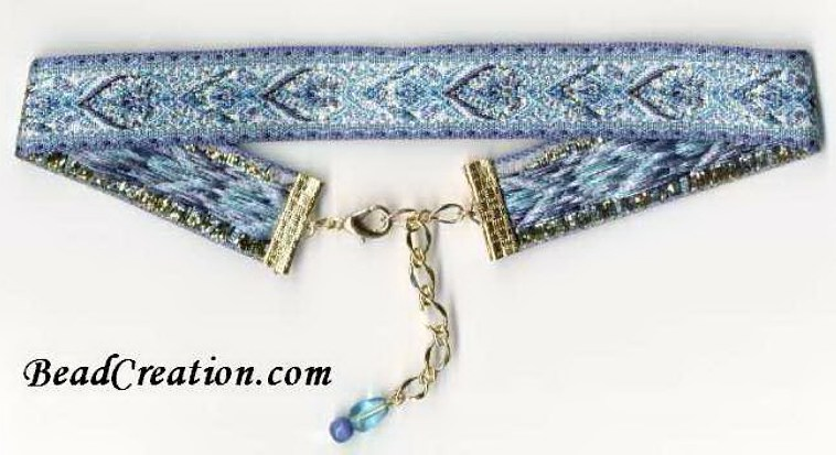 blue embroidered ribbon choker