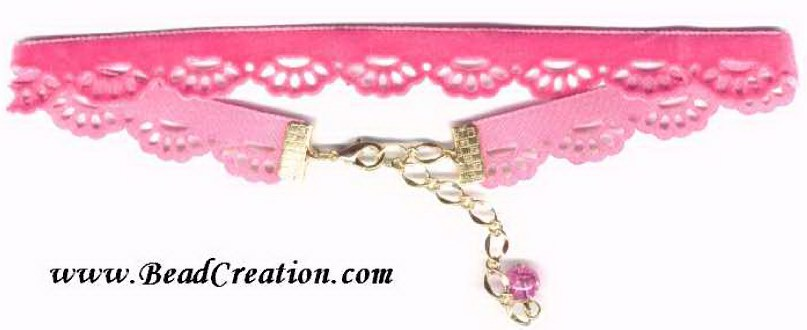 hot pink velvet choker, scalloped velvet necklace