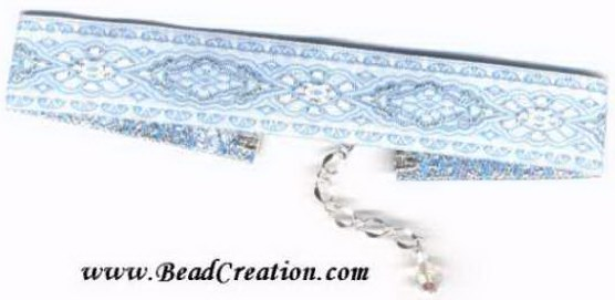 blue ribbon choker,necklace,silver