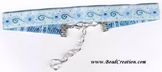 teal ribbon choker,shiny,jewelry