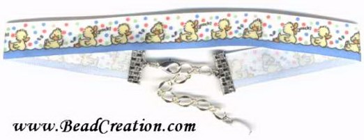 Duck themed jewelry,ribbon choker