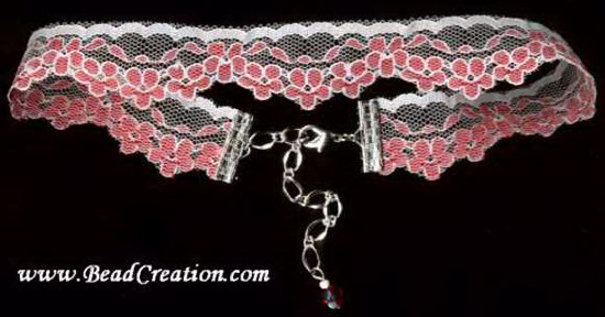 red white lace choker