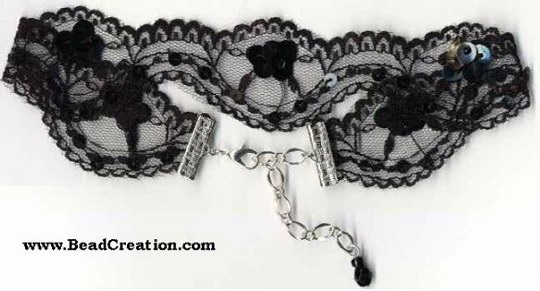 black lace choker necklace with beading