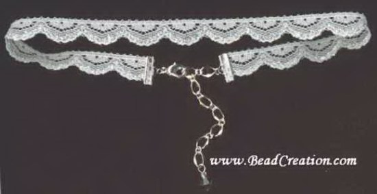 silver,white lace choker necklace