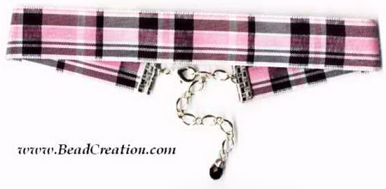 pink plaid necklace,jewelry