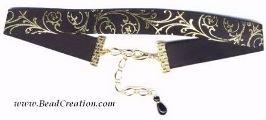 black,gold ribbon choker