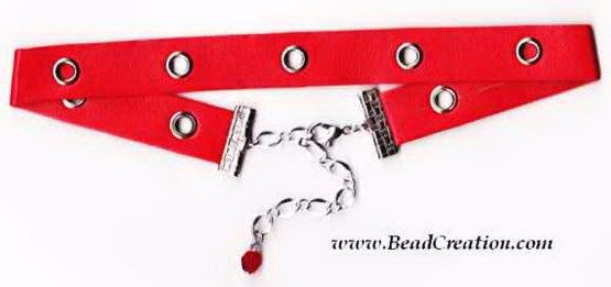 rivetted red leather choker necklace