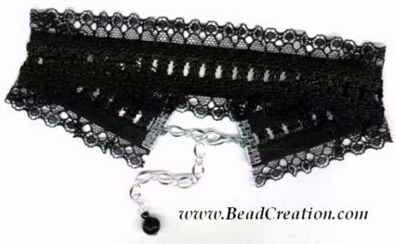 wide black lace choker