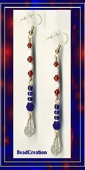 Long Dangling Earrings in Red, White, & Blue
